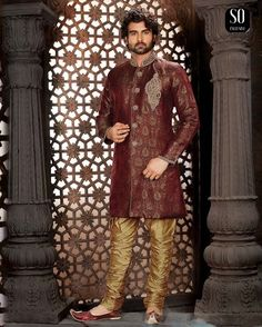 Sherwani Alfraz tunique marron avec pantalon doré Tenue de Mariage  Bollywood Vetement Indien #NarkisFashion #Indianwedding #Mariage