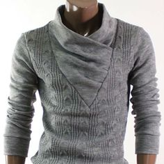 Shirring Neck Knit Sweaters (ks01-gray) - Buy Mens T Shirts,New Mens T Shirts,Knitted Pullover Product on Alibaba.com
