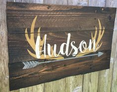 Rustic Large Nursery Name Arrow and Antlers personalized reclaimed pallet wood sign little boy room boho feathers hand painted
