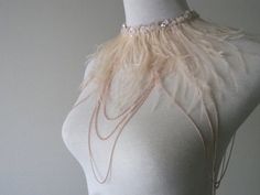 Art Deco Feathered Body Jewelry Blush feather Gold or by VENEAI