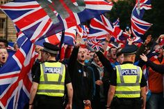 There were ugly scenes in Glasgow tonight as pro-union skinheads turned up en-masse to goad defeated Yes campaigners.