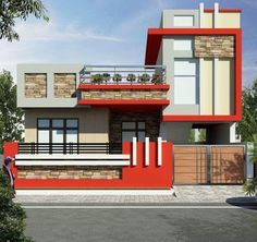 Saved by radha reddy garisa House Outer Design, House Front Wall Design, Single Floor House Design, Bungalow House Design, Unique House Design, Front Elevation Designs, House Elevation, Compound Wall Design, House Design Pictures