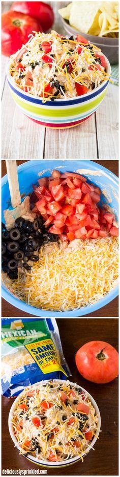 Taco Dip | deliciouslysprinkled.com | #recipe #tacodip #snack #appetizer #partyfood Taco Dip, Dips, Tacos, Dipping Sauces, Dip, Sauces
