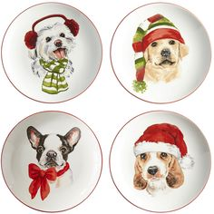 Christmas Puppies Salad Plate Set | Pier 1 Imports