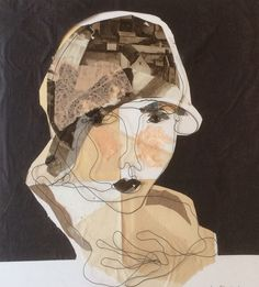 Mixed media. Steel wire portrait. Paper collage. Nora. 50x50 cm.