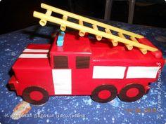 Поделка пожарной машины из спичечных коробок
