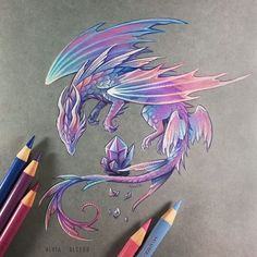 "Polubienia: 5,244, komentarze: 53 – Dragons▫Fantasy art ✨Alvia✨ (@alviaalcedo) na Instagramie: ""Fairy amethyst dragon ..and video of me while painting highlights #dragon #dragons"""