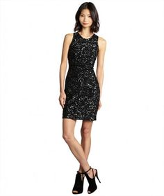 French Connection black spiegal sequined sleeveless party dress on WearsPress