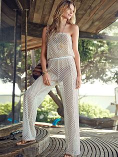 All-in-one beach outfit? Right this way. | Victoria's Secret Sheer Lace Jumpsuit