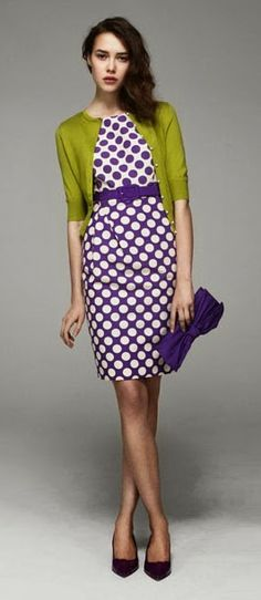 Green apple sweater and purple circle dress. I love the dress and look but I can't wear that green color! Mode Style, Style Me, Work Fashion, Fashion Tips, College Fashion, Spring Fashion, Style Fashion, Fashion Jewelry, Fashion Trends