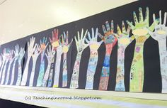 All Hands In display in a 5th grade classroom. Kids told all about themselves using their hand shape and we hung it around the room.