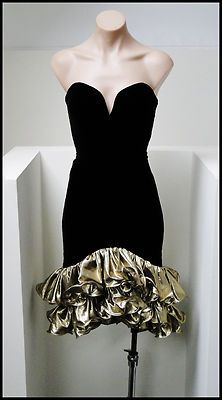 VINTAGE/VTG 80s BLACK VELVET GOLD FOIL ORIGAMI PARTY/PROM DRESS S! BOMBSHELL
