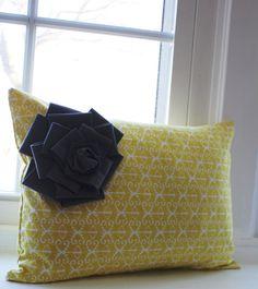 "etsy ""KelsCozyCorner"" citron print pillow with gray bow/flower"