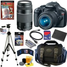 Canon EOS Rebel T3 SLR Digital Camera w/ 18-55mm & 75-300mm Ultimate Rebel Experience from Canon $579.00 - Canon EOS Rebel T3 SLR Digital Camera w/ 18-55mm  75-300mm Ultimate Rebel Experience  Canon EOS Rebel T3 12.2 MP CMOS Digital SLR Camera and DIGIC 4 Imaging  Body (Includes manufacturers supplied accessories)Canon EF-S 18-55mm f/3.5-5.6 IS II SLR Zoom Lens  Canon EF...