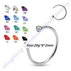20 Gauge Nose Piercing  Eyebrow Lip Women's Stainless Steel Nose Open Hoop Ring Earring Body Piercing Studs Jewelry 120pcs/lot