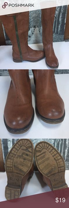 MIA Cute Light brown Boots SIZE 7.5  All man made materials  Nice looking boots look like real leather Side zipper and snap ( green zipper accent)  Black Canvas lining  with rubber sole  Excellent  preowned condition All items are from smoke free environment MIA Shoes Winter & Rain Boots