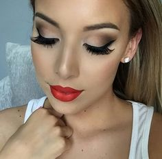 Love this look, a pop of color with the red lips.