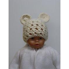 Bonnet tête d ours pour bébé en laine acrylique tricoté main, taille 0 à 3  mois. Bonnet tricoté en maille ajouré avec 2 petites oreilles crochetées de  ... 379a301bc18
