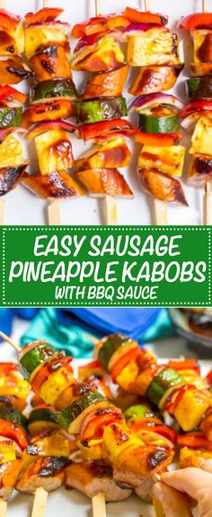 (AD) Sausage pineapple kabobs with BBQ sauce are a quick, no-marinade kabob recipe that's perfect as an easy, flavorful summer appetizer or dinner! Kabob Recipes, Lunch Recipes, Appetizer Recipes, Dinner Recipes, Appetizers, Easy Recipes, Grill Recipes, Entree Recipes, Amazing Recipes