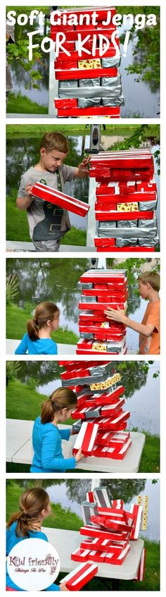 tA DIY Awesome Soft Giant Jenga Game For Kids - My kids couldn't stop playing it. For parties anytime summer and backyard fun! Kids Party Games, Diy Games, Games For Kids, Diy For Kids, Jenga Diy, Giant Jenga, Diy Outdoor Party, Outdoor Fun, Outdoor Stuff