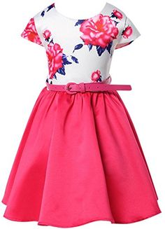 jeansian Kids Girls Summer Floral Sleeveless Princess Dress CG162 RoseRed 160 -- Details can be found by clicking on the image.