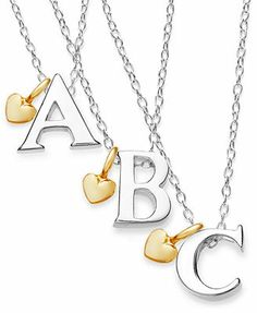 Sterling Silver and 14k Gold over Sterling Silver Necklace, Initial and Removable Heart Charm Pendants