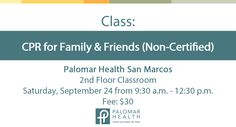 Teen babysitters, new parents and grandparents can learn basic life saving techniques to help others in distress. Not for certification. http://www.palomarhealth.org/classes-and-events/class-details?ceid=8c54518a-0e44-457a-bb08-f3dbf24c4e98