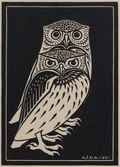'Two Owls' by Julie de Graag (woodcut, 1921)