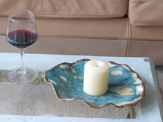 Contemporary Ceramic Candle Holder Green Clay Art Vessel Modern Organic Pottery Dish Centerpiece Plate on Etsy, $54.68 CAD