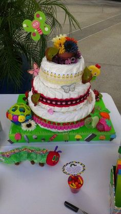 Diaper cake at a Very Hungry Caterpillar Party #veryhungrycaterpillar #party