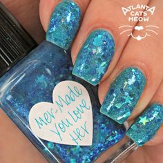 atlcatsmeow #lynnderella LE Mer-Made You Love Her is made with blue jelly glitter, assorted cyans and teals in a cyan-shimmered base accented with cyan microglitter. #lovelynnderella