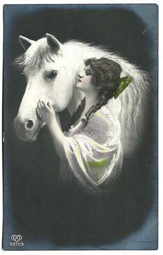 #Beautiful #Bohemian #Woman & White #Horse in Profile #RPPC #RealPhoto #Postcard #Antique #Boho #evt #etsyvintageteam #ephemera by OakwoodView