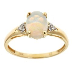 Anika and August 14k Yellow Gold Oval Australian Opal and Diamond... ($234) ❤ liked on Polyvore featuring jewelry, rings, white, opal band ring, 14k yellow gold ring, oval opal ring, yellow gold rings and gold opal ring