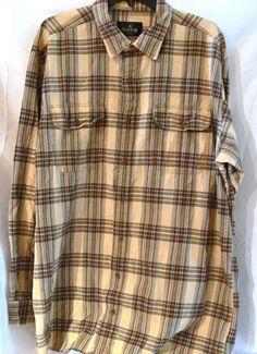 RedHead Men's Long Sleeve Yellow Brown Plaid Button Front Shirt 100% Cotton XLT #RedHead #ButtonFront