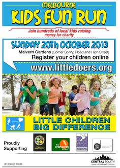 Get the kids active physically and social at the Little Doers Kids Fun Run - raising funds for four charities. Register quickly as spaces are limited and filling www.littledoers.org. Taking place Sunday 20 October 2013