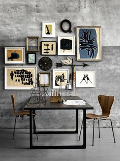 eclectic mix on concrete wall