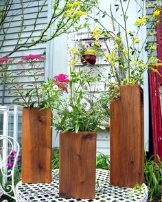 Cedar Planter Boxes, Set of Three Vases Outdoor Flower Planters, Herb Planters, Outdoor Flowers, Outdoor Planters, Cedar Box, Cedar Planter Box, Planter Boxes, Rustic Wood Box, Wedding Vases
