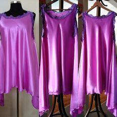 Lavender Nightgown slips with lace trim,  Full Swing Romantic lingerie, HandmadebyNadya