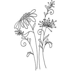 Embroidery Flower Patterns Whimsical flower pattern from a Penny Black stamp - Idea - get pattern similar…… More - Penny Black, Crewel Embroidery, Hand Embroidery Patterns, Embroidery Designs, Embroidery Kits, Embroidery Tattoo, Simple Embroidery, Vintage Embroidery, Geometric Embroidery