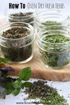 to Oven Dry Fresh Herbs Drying homegrown fresh herbs requires no special equipment and tastes so much better than store bought! Read on to find out how to oven dry fresh herbs. MoreDrying homegrown fresh herbs requires no sp. Cocina Natural, Dehydrated Food, Growing Herbs, Canning Recipes, Gardening Tips, Organic Gardening, Gardening Vegetables, Organic Fertilizer, Organic Farming