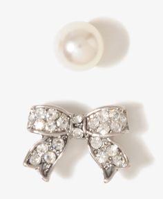 Rhinestoned Bow Earring Set   FOREVER 21 - 1017306704