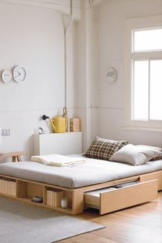 Muji bed frame with extra storage
