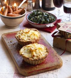 Mushroom and potato dauphinois tarts This deep-filled tart recipe makes for an indulgent vegetarian dinner party main course Dinner Party Recipes, Party Dishes, Party Appetizers, Dinner Party Main Course, Thing 1, Tart Recipes, Healthy Recipes, Mushroom Recipes, Food Processor Recipes
