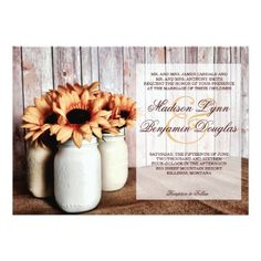 Rustic Country Mason Jar Sunflowers Wedding Invitations with a barn wood background. Easy to use template to design your own unique country wedding invites. Mason Jar Wedding Invitations, Sunflower Wedding Invitations, Country Wedding Invitations, Rustic Invitations, Wedding Rsvp, Wedding Invitation Sets, Fall Wedding, Sunflower Weddings, Wedding Ideas