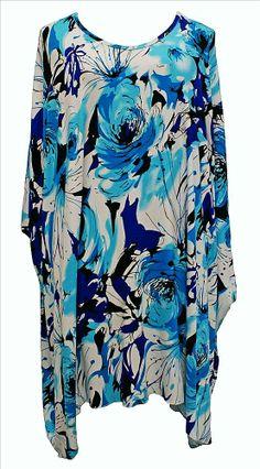 AKH Fashion Lagenlook Oversize Kaftan Tunika Übergröße in blau bei www.modeolymp.lafeo.de
