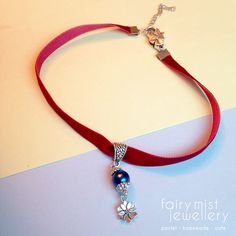 Velvet Choker Red Crimson Dark Blue Silver by fairymistjewellery