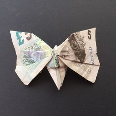 butterfly made from a £5 note