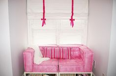 Greenglade Two Residential - traditional - kids bedroom pink sofa roman shades with bow - atlanta - Studio M Interiors