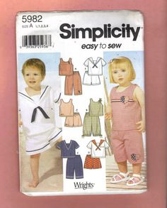 5982 Simplicity Easy to Sew Pattern Baby and Toddler by annaverleg, $3.00