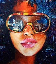 """Sumerjido en el Tiempo"" - Yunior Hurtado (Cuban, b. 1977), oil on canvas, 2014 {figurative art beautiful female head #naturalhair sunglasses happy smiling woman face painting #loveart #2good2btrue} yuniorhurtado.net"
